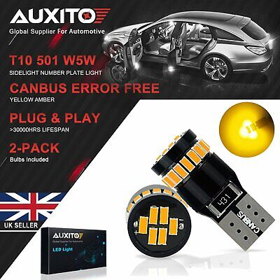 Auxito T10 501 W5W Car Led Canbus 24Smd Yellow Amber Sidelight Bulbs Error Free