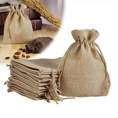 5-50Pcs Small Burlap Jute Hessian Wedding Favour Jewellery Bags Drawstring Pouch