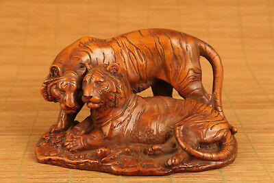 unique big chinese old boxwood hand carved tiger statue figure netsuke
