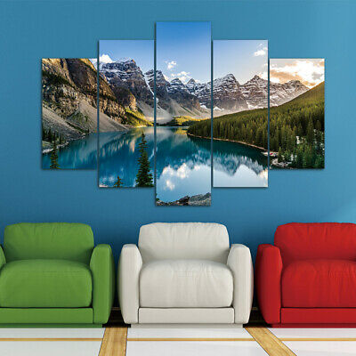 5 pieces of modern canvas Lake and mountain painting wall art for home decor