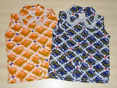 2 PACK OF VINTAGE 1970s GIRLS ORANGE & NAVY FRILLY COLLAR BLOUSES AGES 4 up to 6