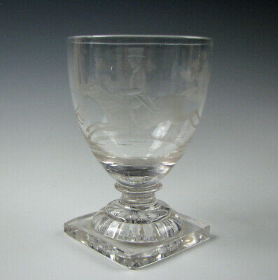 Antique Hand Blown Flint Glass Goblet with Engraved Fox Hunt Scene 19th Century