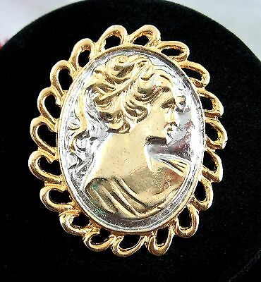 "CAMEO PIN Two Tone BROOCH Vintage  Profile Oval 2"" Unusual Silvertone Goldtone"