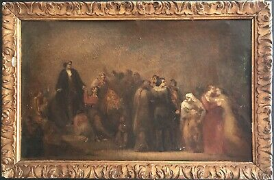 Intriguing 19Th Century French/ German Oil Painting - Ancient Crowd Of Figures