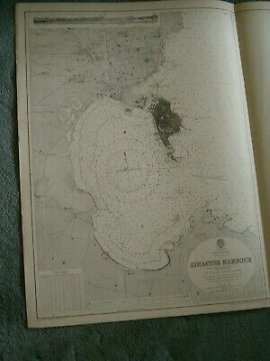 Vintage Admiralty Chart 182 SICILY - SYRACUSE HARBOUR 1927 edn