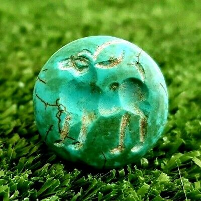 Antique Turquoise Stone Stag Deer  Dome signet intaglio seal stamp bead Pendant