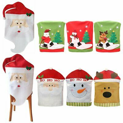 Christmas Chair Covers Dinner Table Santa Home Decorations Ornaments Gift TU