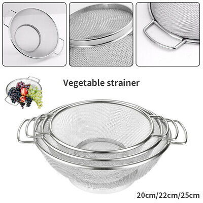 Hot Stainless Steel Dual Wire Twin Handle Sieve Cooking Baking Kitchen Strainer
