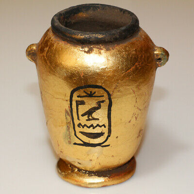 Perfect Antique Egyptian Gold Plated Terracotta Vase - Very Rare