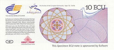 10 Ecu Pre Euro Unc Test Note From Spain 1992