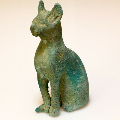 Intact & Large Size Ancient Egyptian Bronze Cat Statue Circa 100 Bc-Ad