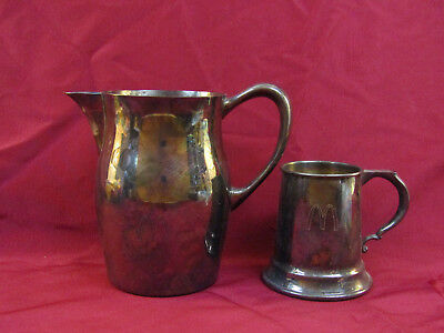 Vintage 1970-80s McDonalds Silver Plated Pitcher & Cup
