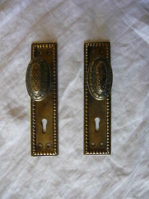 "LOT OF TWO BRASS FINISH  ESCUTCHEON PLATES 2 1//4/"" X 7/"""