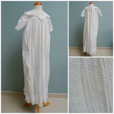 Antique Christening Gown Dress Victorian Baptism Embroidered Whitework c1890