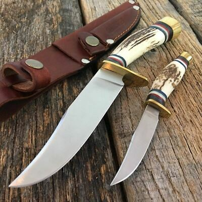 2PC SET Hunting Knife Steel Genuine Stag Twin Hunter Set brown leather sheath S