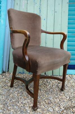 Antique Shepherds Crook Armchair Walnut & Velvet 1920's Art Deco Desk Chair Chic