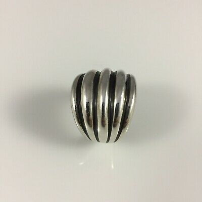 Silpada Sterling Silver Oxidized Dome Ribbed Banded Ring  R1886  Size 8