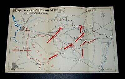 WW2 D-Day Invasion Map of ADVANCE OF 2nd ARMY TO MEUSE-ESCAUT CANAL 7 Sep 1944