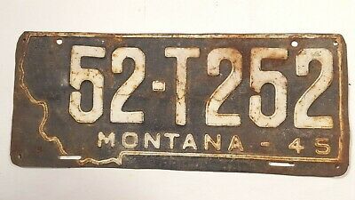 1945 MONTANA LICENSE PLATE Prison Made EUC vintage mancave WWII