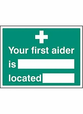 "Caledonia Signs 26038K""Your First Aider is Located"" - Señal autoadhesiva de vi"