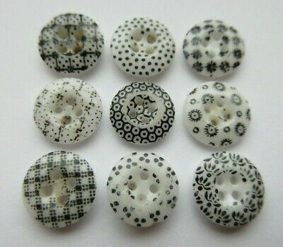 Wonderful Lot of 9 Antique~ Vtg China Calico BUTTONS Black & White Patterns (V)