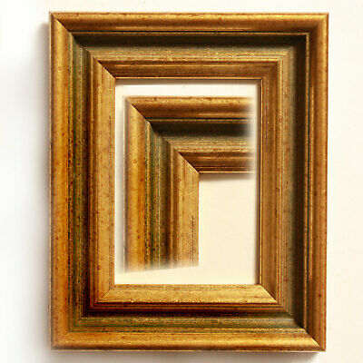 GOLD WOODEN ACEO//SCHOOL PICTURE 3.5X2.5 INCH PICTURE FRAME WITH IVORY MOUNT