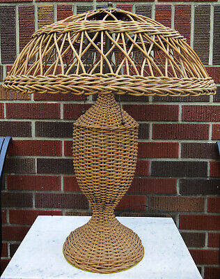 "Vintage Natural Wicker Rattan Table Lamp & Shade 26""H Shabby Chic Double Light"