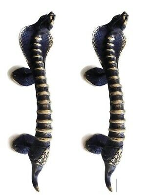 2 SNAKE cobra brass door PULL old style heavy hollow house PULL handle 35cm B