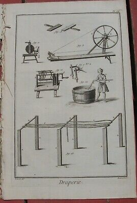 "1765 Diderot Engraving - Cloth Maker (""Draperie"") - Washing & spinning of wool"