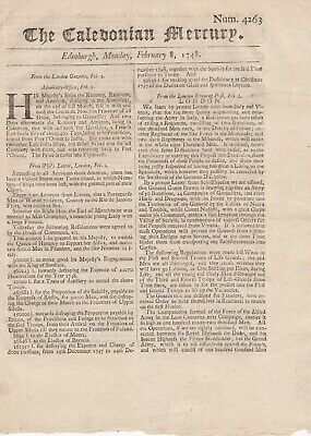 "1748 ""The Caledonian Mercury""- War of Austrian Succession - Early Scottish Paper"