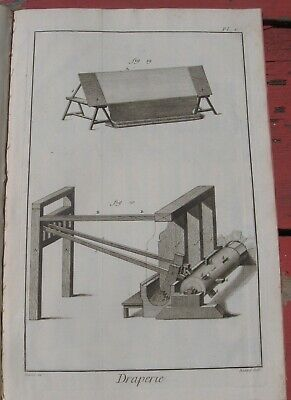 "1765 Diderot Engraving - Cloth Maker (""Draperie"") - Plate V - Machinery Details"