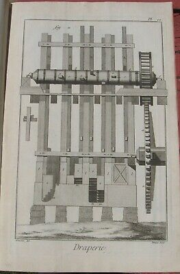 "1765 Fine Diderot Engraving - Cloth Maker (""Draperie"") - Plate VI - Fuller Mill"