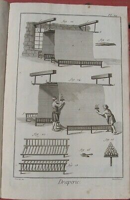"1765 Diderot Engraving - Cloth Maker (""Draperie"") - Plate VII - Material Drying"