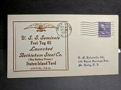 USS SEMINOLE AT-65 Naval Cover 1939 LAUNCH Cachet SUNK WWII