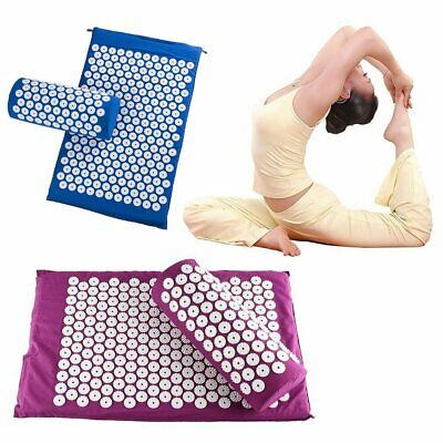 Acupressure Mat and Pillow Set Hypoallergenic Relief of Stress/Pain/Tension TU