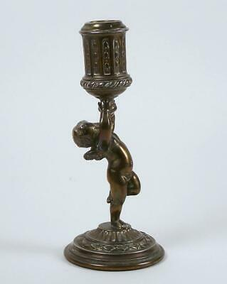 Antique Brass Candle Holder Cherub Form Single Candle Stick Pairpoint