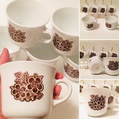 Corelle Batik (6) Boho Hippy Mid Century Style by Corning Coffee Or Tea Cups