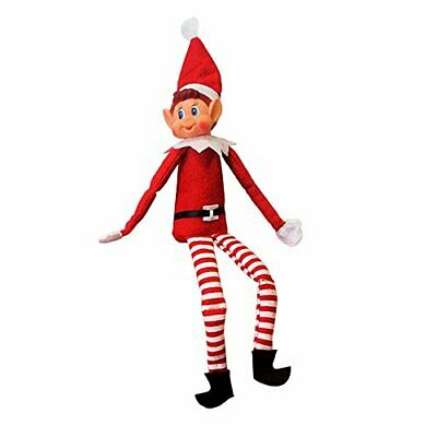 Christmas Elf Soft Toy Smiley Face Sits On Shelf by Elf Corner