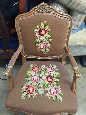 Antique Louis Xv French Carved Walnut/ Needlepoint Cushion Arm Chair
