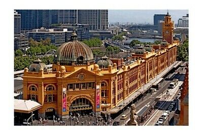 Melbourne FLINDERS ST STATION elevated view c2010 modern digital Photo Postcard