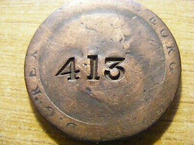 A 1797 George III Cartwheel Penny Counter Stamped Coin ok Condition - 36mm Dia