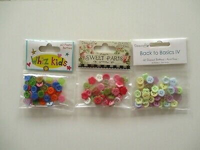 DOVECRAFT 3 PACKS MINI SHAPED BUTTONS blue yellow pink purple mini flower