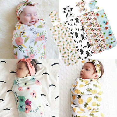 Newborn Infant Baby Swaddle Blanket Sleeping Swaddle Muslin Wrap Headband Set UK