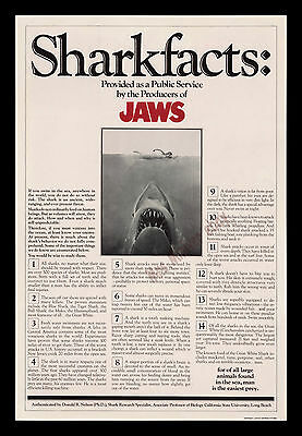 Jaws 1975 Rare ☆ Shark Facts ☆ Universel 1-Sheet Affiche Film ☆ Steven Spielberg