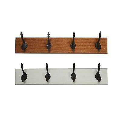 Wall Mounted Coat Rack Country House Style 4 Coat Hook Wood Vintage Look White