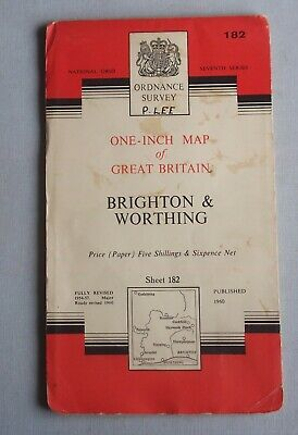 Brighton & Worthing - Ordnance Survey One-Inch Map Sheet 182 , 1960