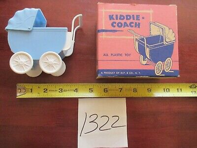 M.P & Co Kiddie Coach Blue and White Plastic Doll Carriage Stroller Toy with Box