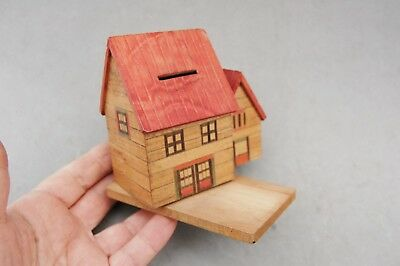 "Japan Made Wood House Bank Toy Hand Made Vintage 4 1/2""x 4 1/2 Twist Open Bottom"