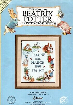 Cross stitch chart. The World of Beatrix Potter birth sampler by Anchor.