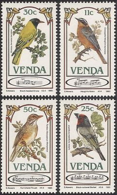 Venda 1985 Songbirds/Thrush/Barbet/Oriole/Chat/Song Birds/Nature 4v set (b1337)